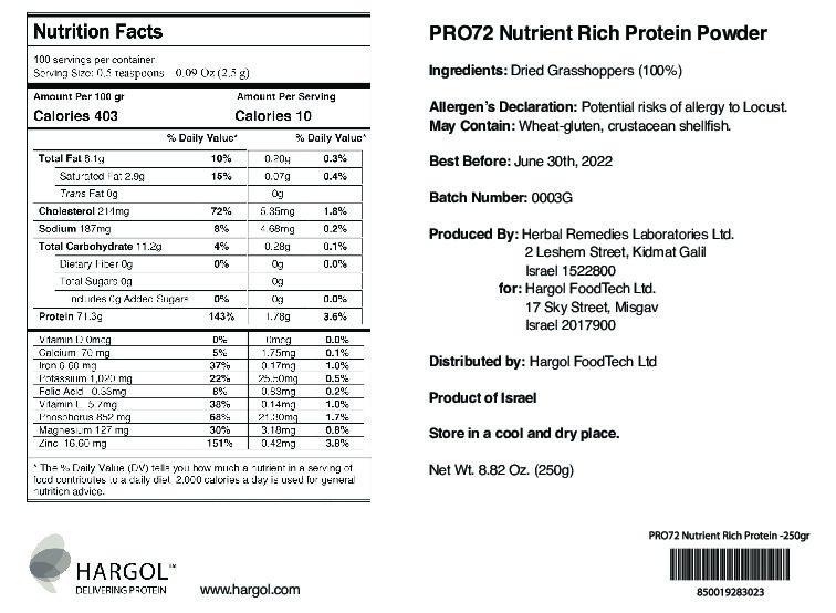 PRO72 Nutrition Rich Protein Powder 250gr